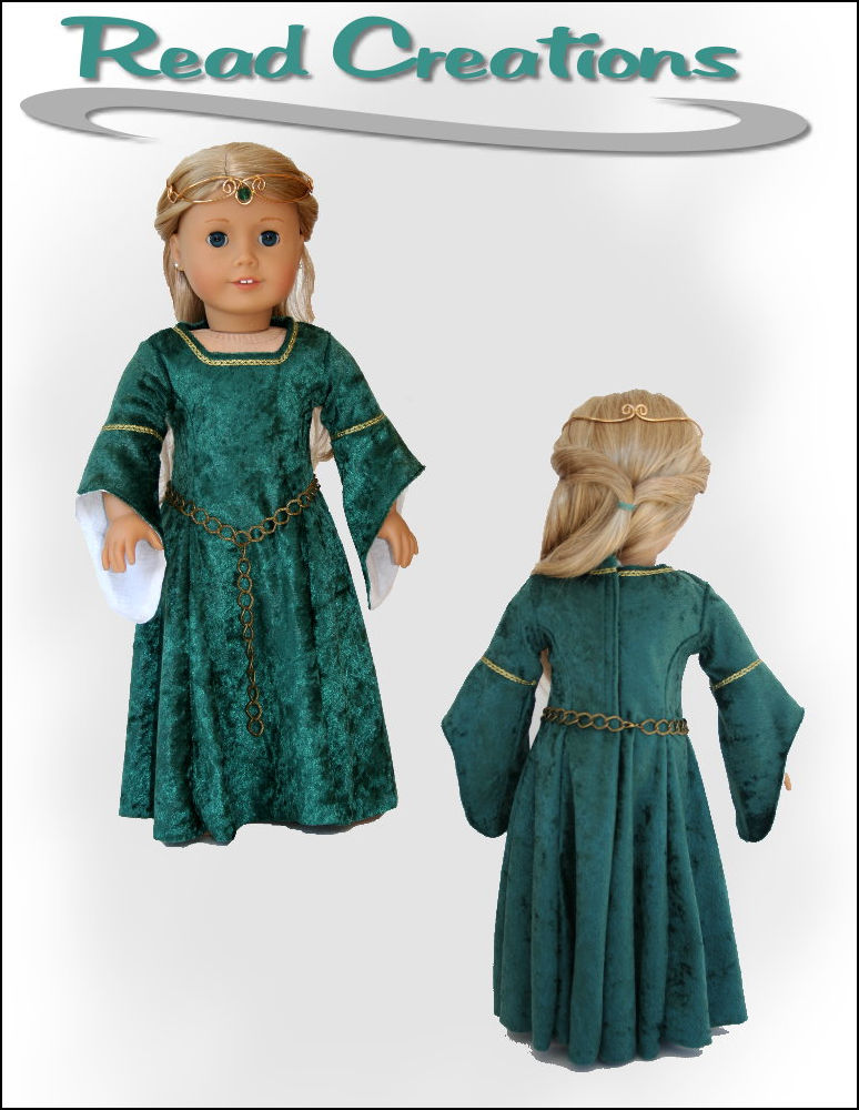 Medieval dress pattern for 18-inch dolls
