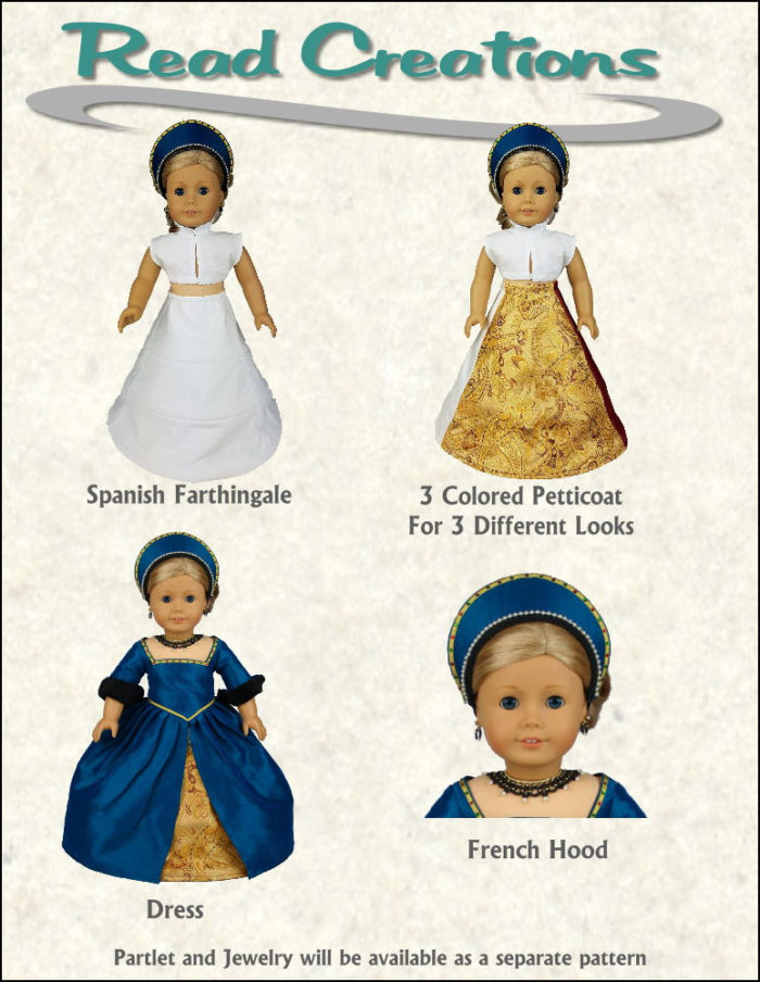 Tudor dress pattern for 18-inch dolls