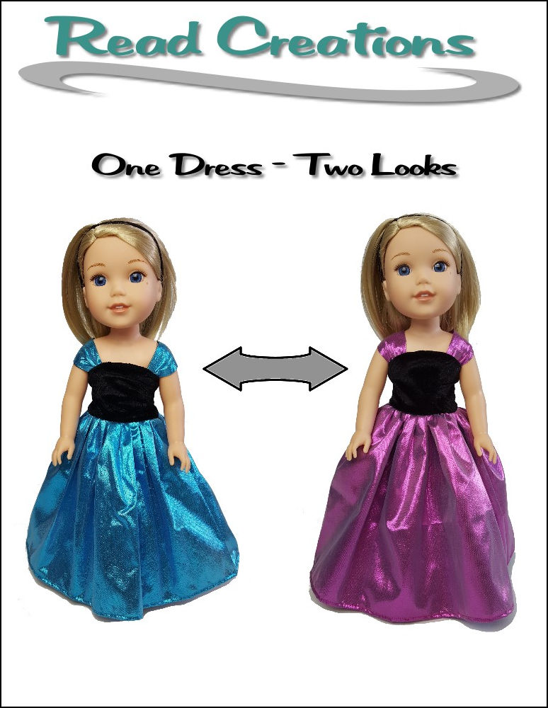 Reversible Fancy Dress pattern for 14.5-inch dolls