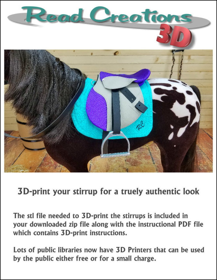 "English Saddle Pattern for 18"" Doll sized horses like American Girl"
